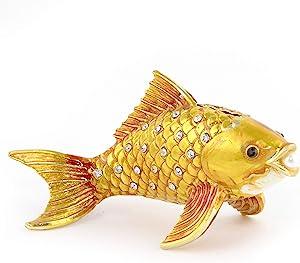 Feng Shui Bejeweled Metal Copper Golden Fish Statue for Wealth