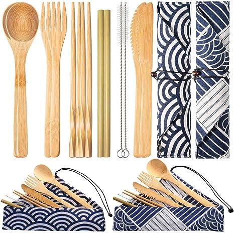 MDCEO Cubiertos de bambú Reutilizables, Cubiertos, Tenedores ...