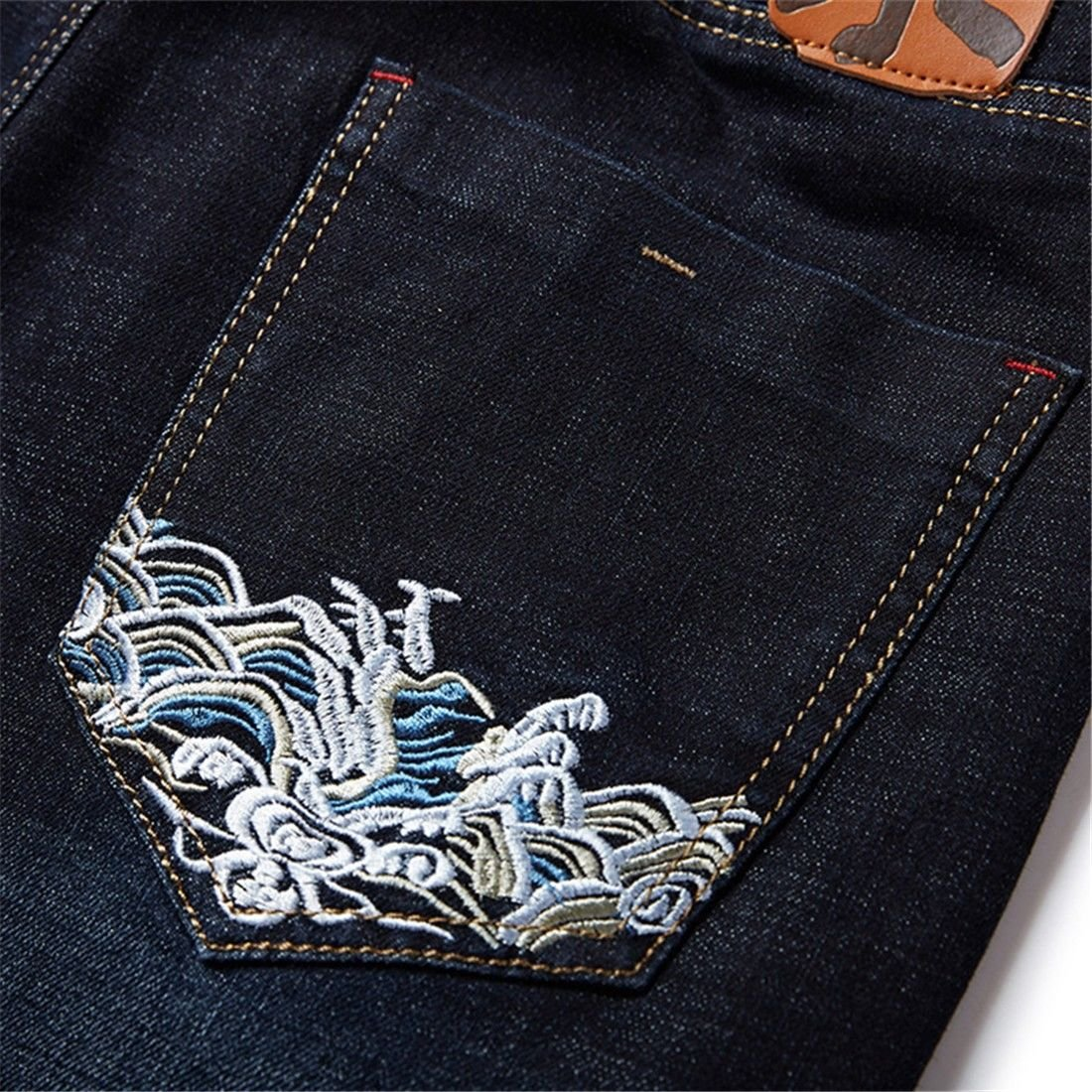 STAZSX Apparel Large Size Mens Jeans Loose Embroidered Pants