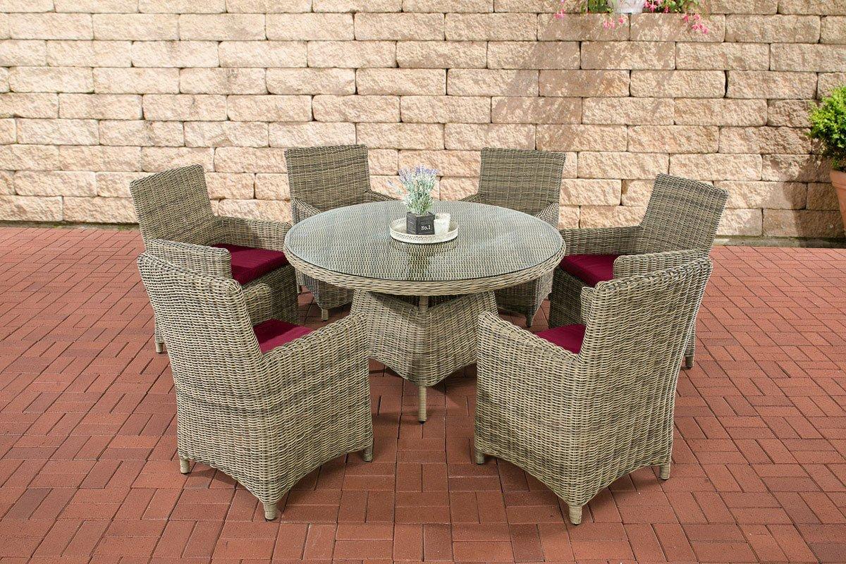 CLP Poly-Rattan Sitzgruppe LARINO natura (6 Sessel + Tisch rund Ø130 cm) INKL. bequeme Sitzkissen, Premiumqualität: 5mm Rund-Rattan natura, Bezugfarbe rubinrot