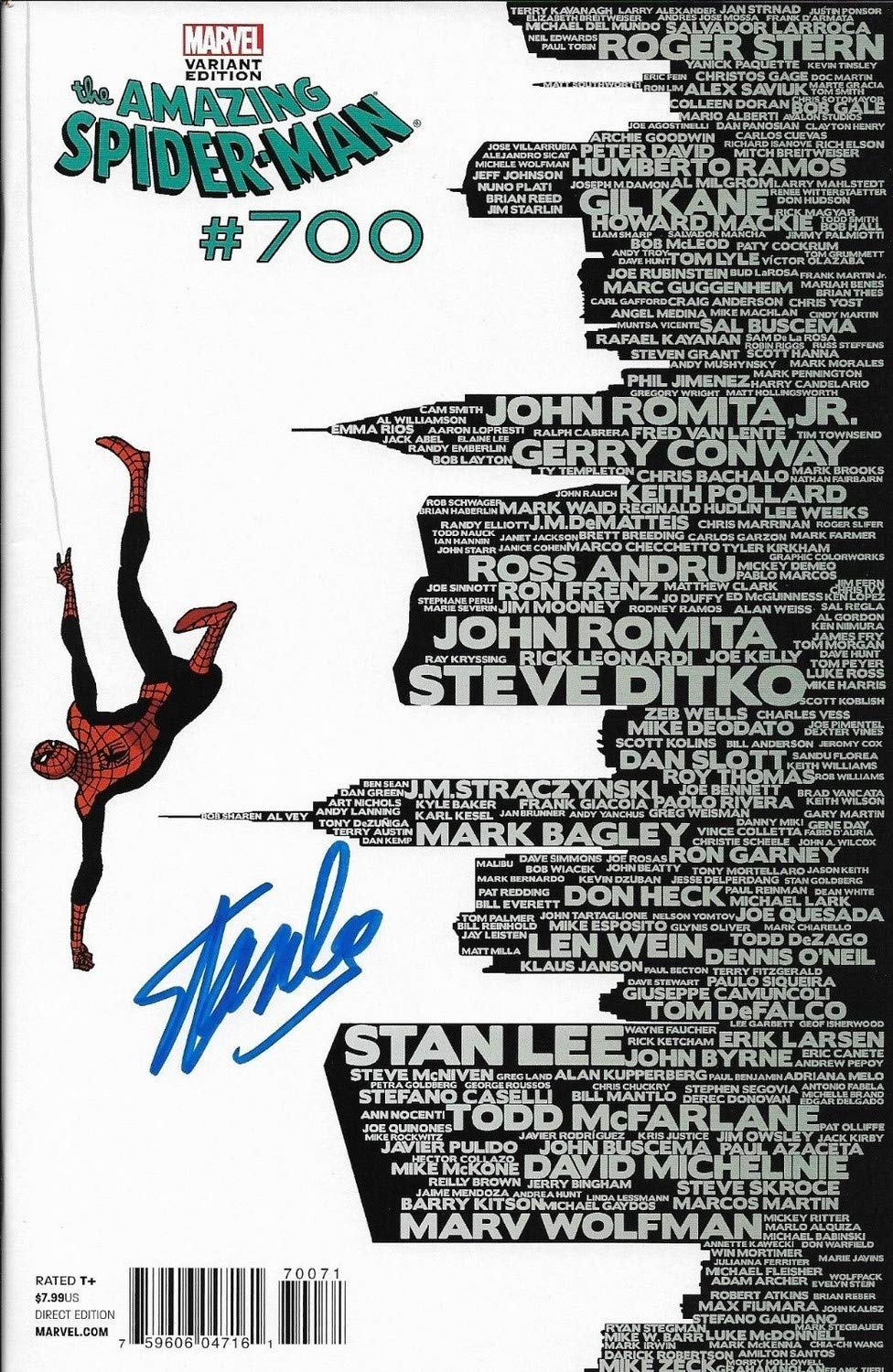 Stan Lee Autographed Signed Amazing Spider Man Autographed Signed #700 Variant Edition Comic Book JSA Authentic