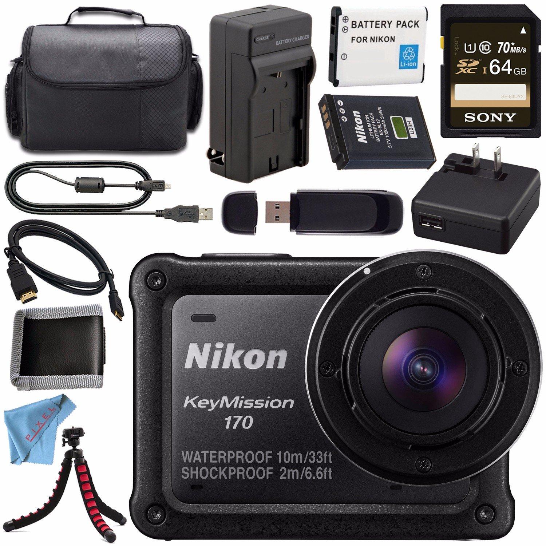 Nikon keymission 170 4 Kカメラアクションカメラ26514 + en-el12リチウムイオン+外部バッテリー急速充電器+ Sony 64 GB SDXCカード+ケース+三脚+ HDMIケーブル+メモリカード財布+ FiberClothバンドル   B01N11Z0RI