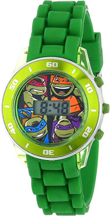 Ninja Turtles Kids Digital Watch with Matallic Green Bezel, Flashing LED Lights, Green Strap - Kids Digital Watch with Teenage Mutant Ninja Turtles ...