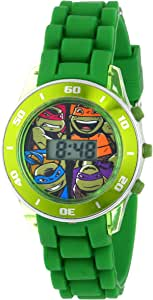 Ninja Turtles Kids' Digital Watch with Matallic Green Bezel, Flashing LED Lights, Green Strap - Kids Digital Watch with Teenage Mutant Ninja Turtles on the Dial, Safe for Children - Model: TMN4008