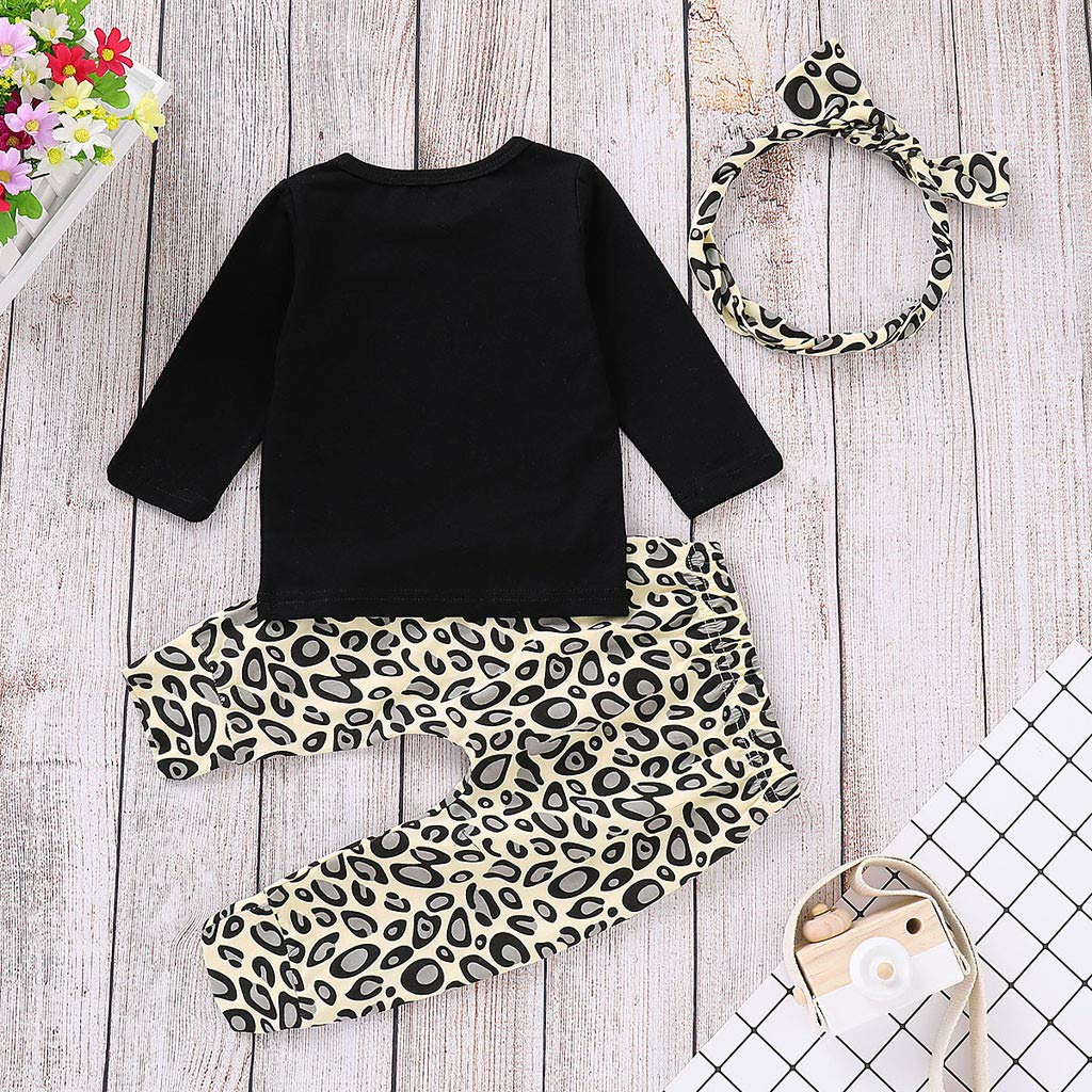 MEIbax 3-teiliges Set Neugeborenes Baby M/ädchen Brief T Shirt Tops Leopard Print Hose Set Kleidung