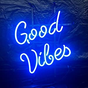 Good Vibes Customized Acrylic Board Neon Sign 17''x13'' Real Glass Neon Sign Light for Beer Bar Pub Garage Room.