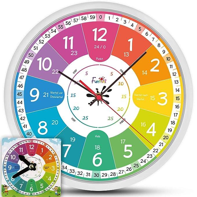 Fun Tini Niños Reloj Juego de lautlos | Reloj de pared Ø30 ...