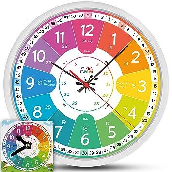 Uhr Für Kinderzimmer | Amazon De Kinderuhr Set Lautlos Wanduhr O30cm Mit