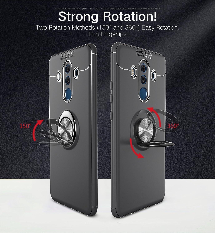 Huawei Mate 10 Pro Handyhülle, Huawei Mate 10 Pro Hüllen Ring Holder, SpiritSun TPU Backcover Handy Case Auto Finger Halter 360°Rotation Tasche Kompatibel mit Magnetic Car Mount Cover für Huawei Mate 10 Pro (6.0)-schwarz + schwarz Hülle
