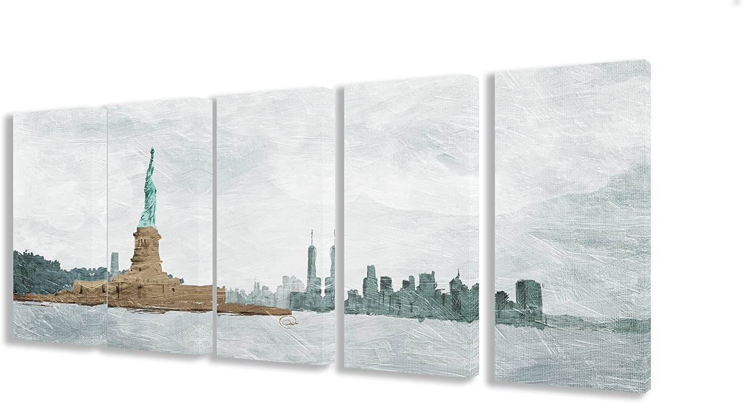 Stupell Home Décor New York State of Mind 5pc Stretched Canvas Wall Art Set, 10 x 1.5 x 21, Proudly Made in USA