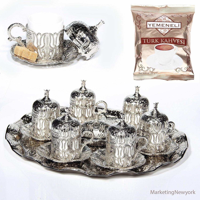 27 Pc Ottoman Turkish Greek Arabic Coffee Espresso Serving Cup Saucer (Silver) Akmetal 2KLYK111