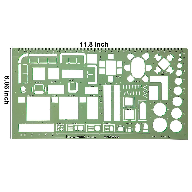 Amazon 6PCS Plastic Clear Green Color Measuring Templates