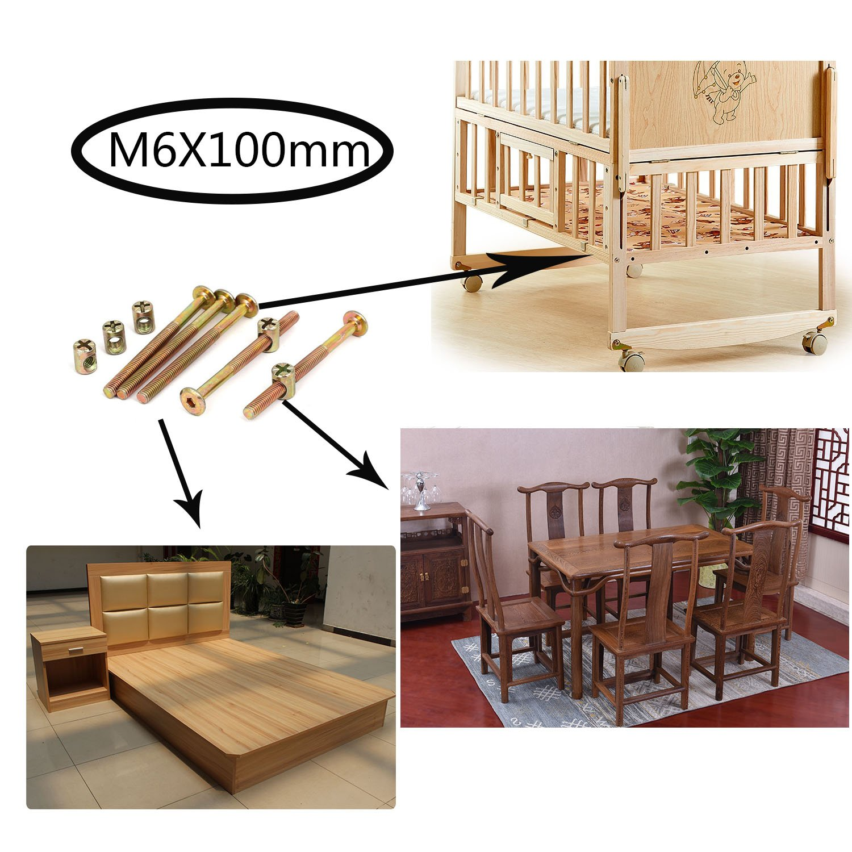 SpeedDa M6x110mm Thread Hex Key Drive Socket Furniture Bolt w Barrel Nut Bolt Nuts Assortment Kit for Furniture Cots Beds Crib and Chairs Pack of 16
