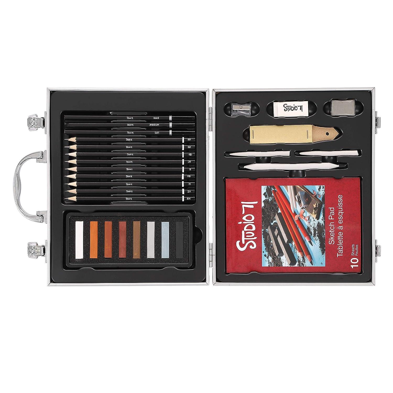 Darice Studio 71 Kids Art Set in Metal Case: Assorted Case Colors, 71 pieces 30061946