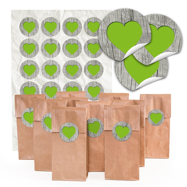 '24Sac à fond marron Bloc avec insert parchemin (7x 4x 20,5cm) et 24ronds autocollants C?ur verte sur bois pour la liebenvollen emballage de pralines, Thé et petits cadeaux?; Qualité 1A.
