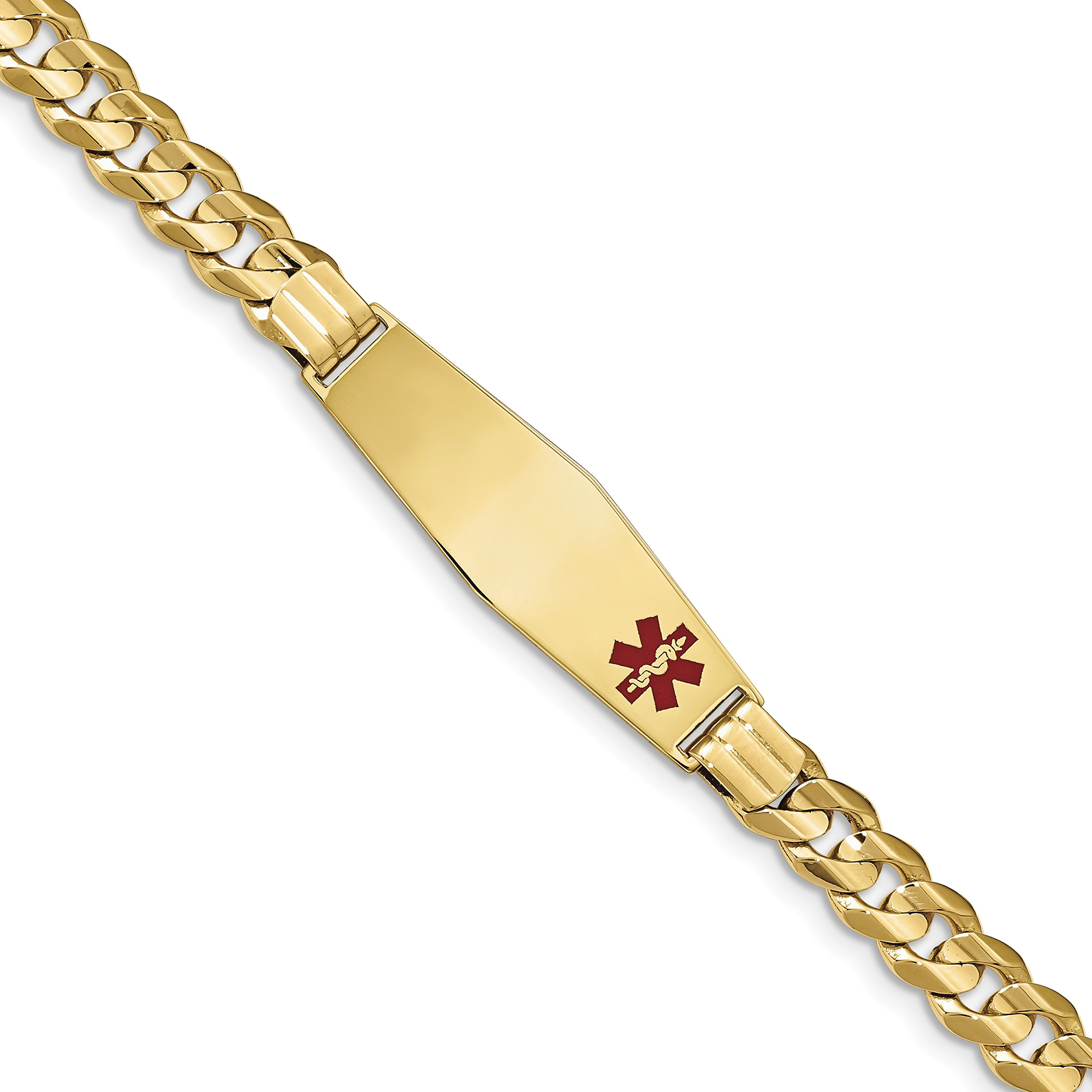 ICE CARATS 14k Yellow Gold Medical Soft Red Enamel Link Curb Id Bracelet 8 Inch Fine Jewelry Gift Set For Women Heart