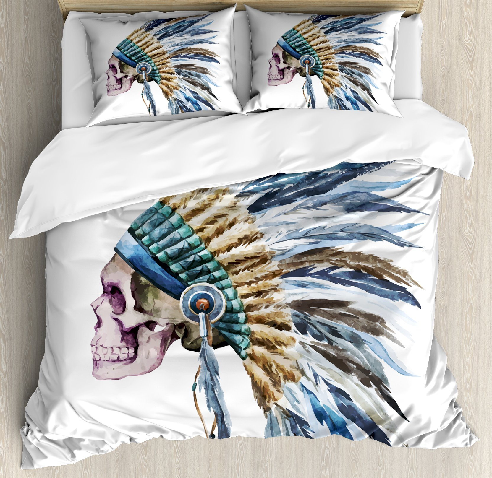 Watercolor King Size Duvet Cover Set by Lunarable, Cool Skull with Native American War Hat Indigenous Cultures Circle of Life Death, Decorative 3 Piece Bedding Set with 2 Pillow Shams, Multicolor