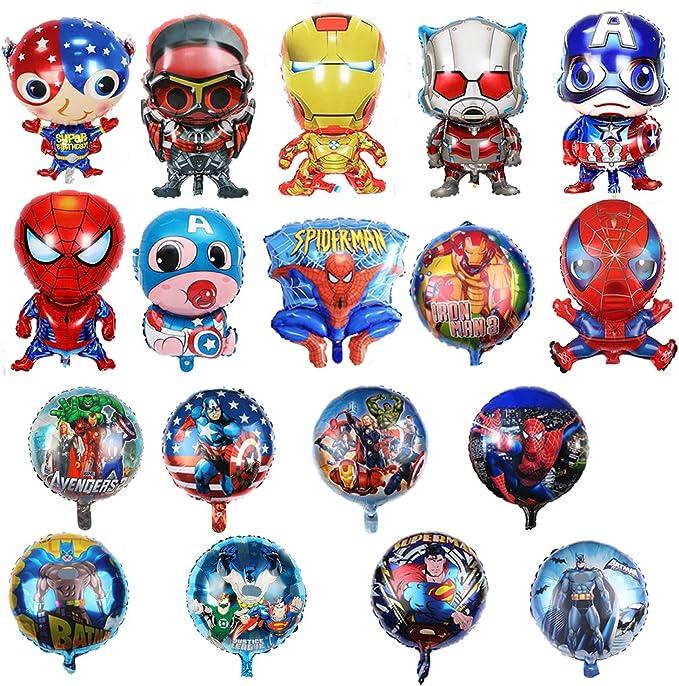 21 Palloncini Foil di Supereroi per Regali per Bambini Decorazioni per Feste di Compleanno HYOUNINGF 21 Palloncini Foil per Feste di Compleanno di Supereroi PC