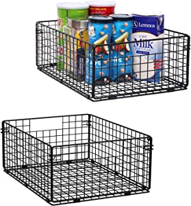 """X-cosrack Pantry Basket Foldable Cabinet&Wall Mounted Metal Wire Basket Organizer Set of 2-16""""x12""""X6"""", Farmhouse Food Storage Mesh Bin with Handles for Kitchen Pantry Bathroom Laundry Closet Garage"""
