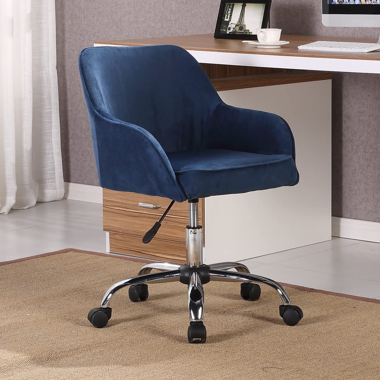 BELLEZE Office Chair Adjustable Swivel Mid-Back Desk Chair Task Velvet Seat Backrest Support, Blue