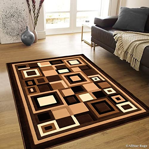 Allstar 8×10 Chocolate Modern and Contemporary Machine Carved Rectangular Accent Rug with Ivory, Mocha and Espresso Geometric Abstract Design 7 9 x 10 2