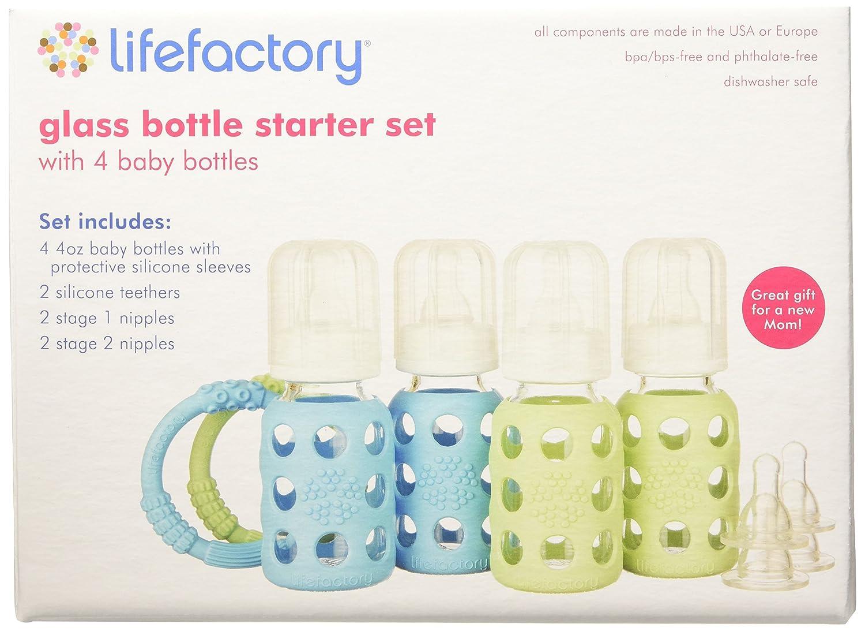 Glas 4/oz 4-TLG. Lifefactory Starter Set Mehrfarbig