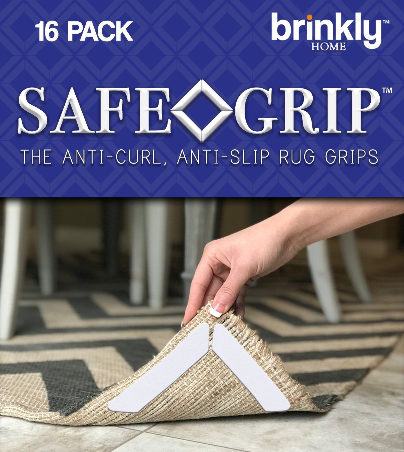 Brinkly Safe Grip Premium Rug Gripper 16PCS | The Anti-Curling Carpet Gripper Keeps Your Area Rugs in Place and Corners Flat | Best Anti-Slip Rug Pads w/ Renewable Gripper Tape for All Hard Floors by Brinkly