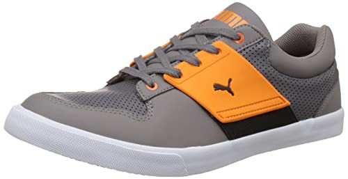 426942a9f23 Puma Men s El Ace Lo Steel Grey and Vermillion Orange Leather ...