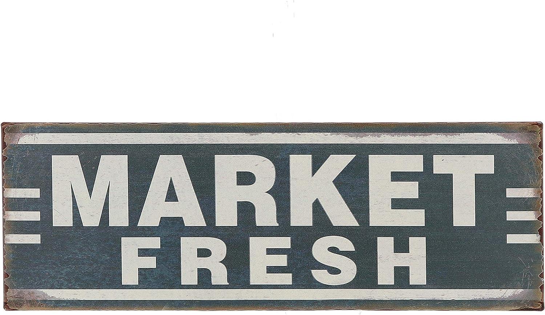 Barnyard Designs Market Fresh Retro Vintage Tin Bar Sign Country Home Decor 13.75