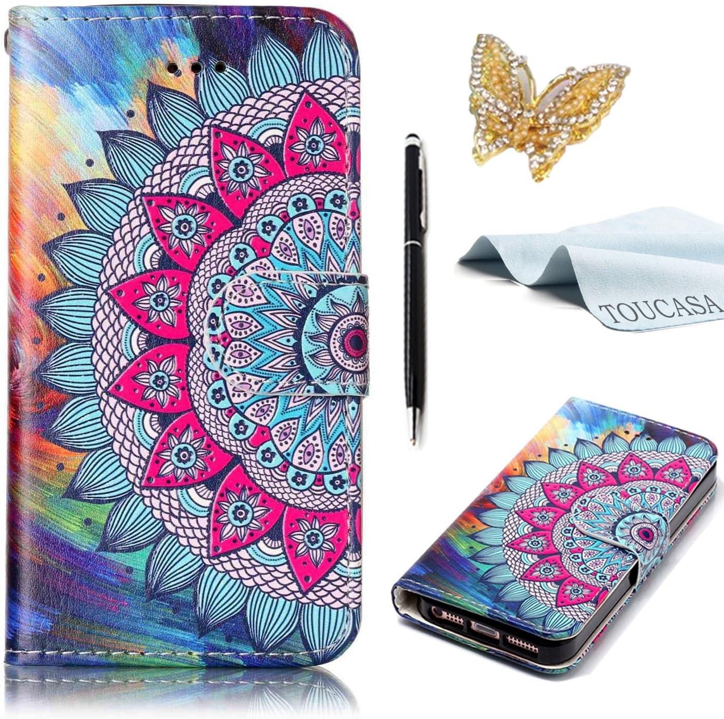 TOUCASA Funda Galaxy J3 2015,Funda J3 2016, PU Cuero Suave Diseño de Lindo Animal Mariposa Flor Mandala Exquisita Pintura al óleo en Relieve Funda para Samsung J3 2015/J3 2016-Flor de Mandala