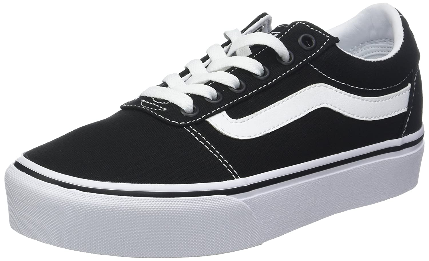 74fd9dccf3ea Vans Women s Ward Platform Canvas Low-Top Sneakers  Amazon.co.uk  Shoes    Bags