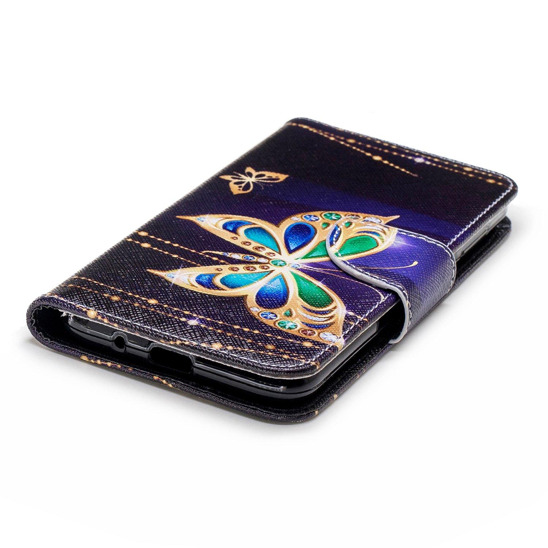 ZXLZKQ Funda para Huawei/Honor/7S//Huawei/Y5/2018//Huawei/Y5/Prime/ Cover PU Cuero Tapa Flip Elegante Moda con Cierre Magn/ético Case Carcasa Caso Flor de Mariposa 2018