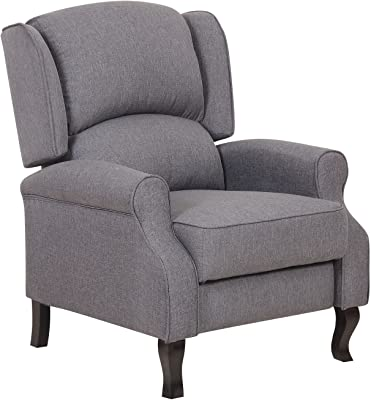 Container Furniture Direct Lily Modern Wing Back Fabric Accent Recliner  Chair, Grey