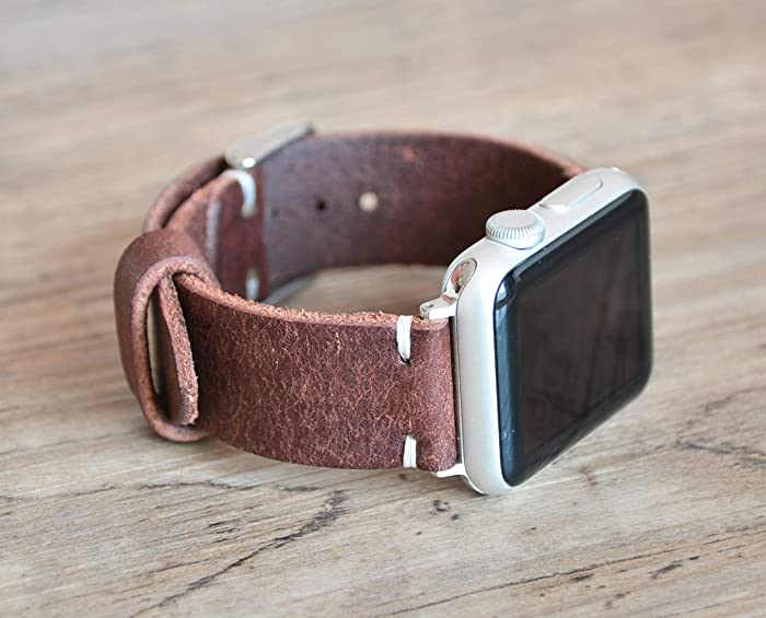 Top 10 Full Grain Leather Apple Watch Band Chestnut