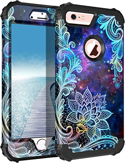 Casetego Compatible with iPhone 6S Plus Case,iPhone 6 Plus Case,Floral Three Layer Heavy Duty Hybrid Sturdy Shockproof Protective Cover Case for Apple ...