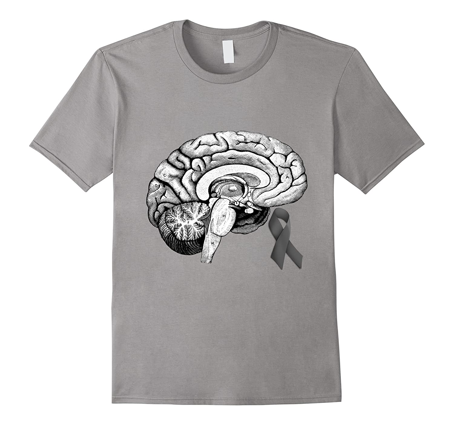 Brain Cancer Awareness Gray Ribbon Vintage Anatomy T-Shirt-Vaci