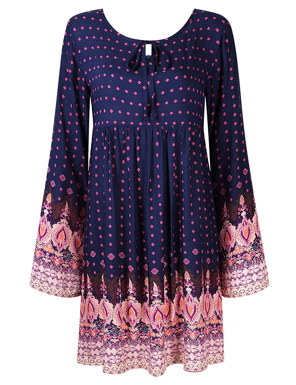 YesFashion Women Bohemian Vintage Floral Printed Ethnic Loose Casual Dress Y6-K1E5-9EMW