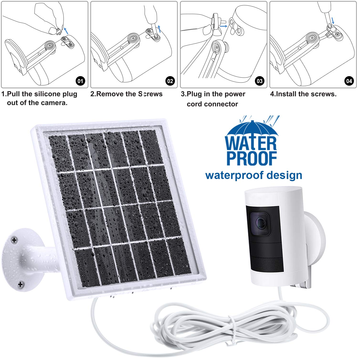 12Feet 5 V// 3.5 W Max Output White Only No Camera Included Hotop Solar Panel Compatible with All-New Ring Stick up Cam Battery Cable with Waterproof DC Connector