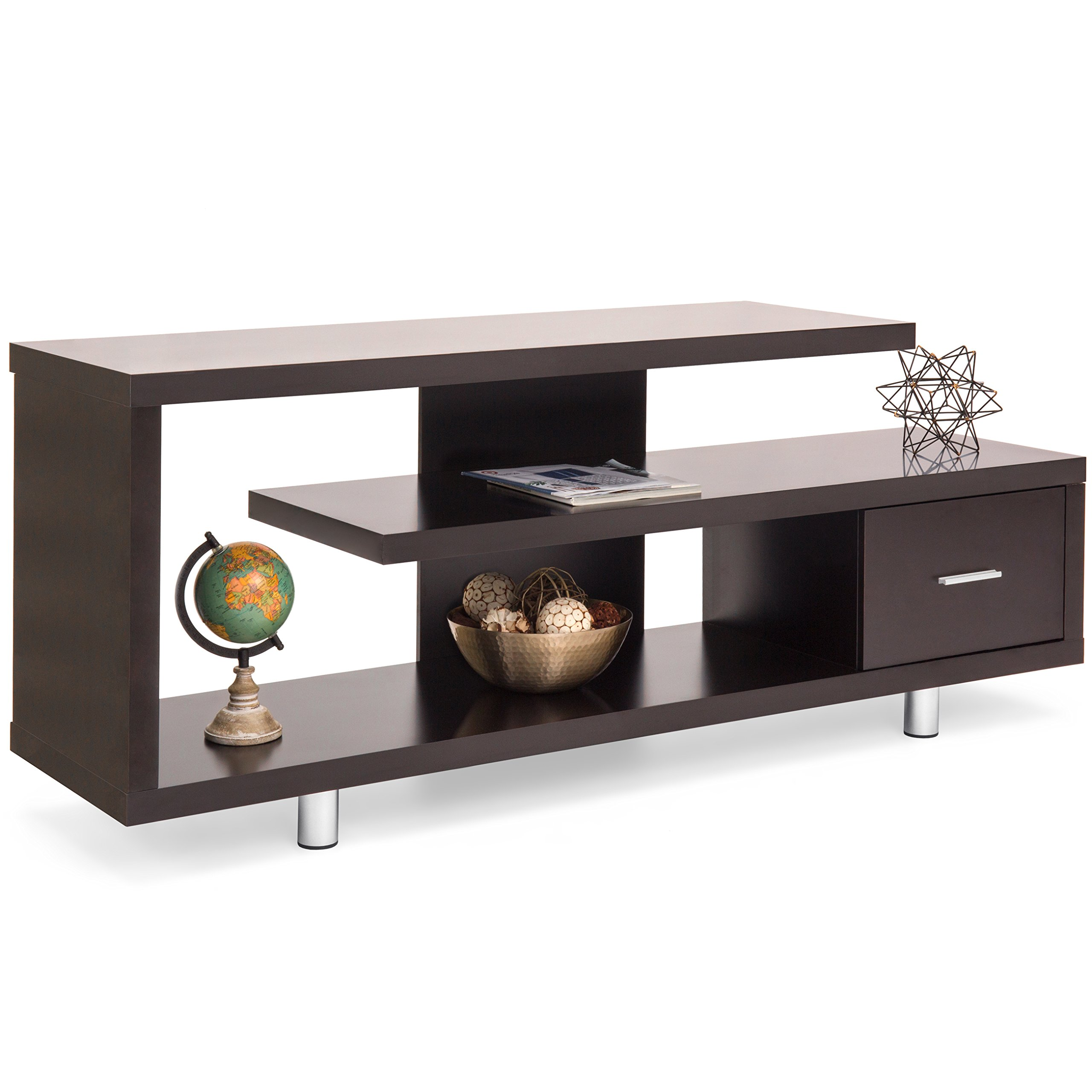 Best Choice Products Living Room Home Entertainment Media Console TV Stand Display w/ 3 Shelves, Sliding Drawer - Brown
