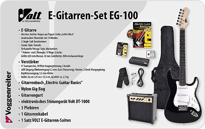 Volt EG100 E-Guitar Set - Set básico con guitarra eléctrica, amplificador, guía de aprendizaje y accesorios: Amazon.es: Juguetes y juegos