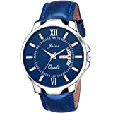 Jainx Blue Day And Date Round Dial Analogue Watch For Men & Boys - Jm302