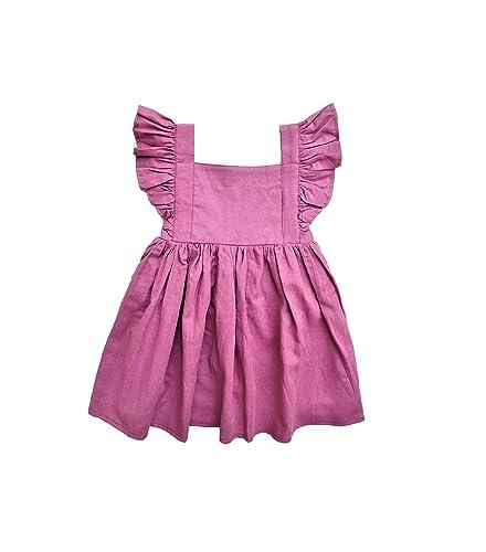97598bd76867 Amazon.com  Baby Girl Linen Dress - Purple