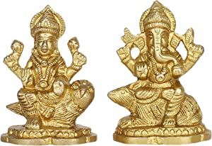 GURU JEE Brass Idol for Puja Room Decoration Mouse Ganesha Owl Laxmi Religious Gifts