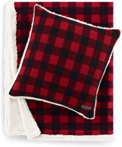 Eddie Bauer | Flannel Collection | Throw Blanket-Reversible Sherpa Fleece Cover, Soft & Cozy, Perfect for Bed or Couch, Throw & Pillow, Cabin Red Bundle