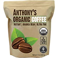 Anthony's Organic Instant Coffee, Batch Tested Gluten Free, Ultra Fine (14oz)