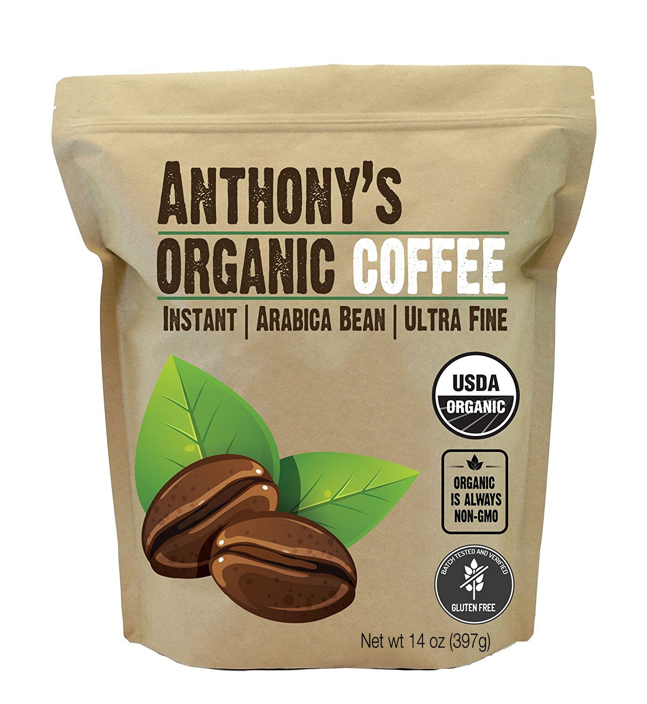 Anthony's Organic Instant Coffee, Batch Tested Gluten Free, Ultra Fine (14oz)