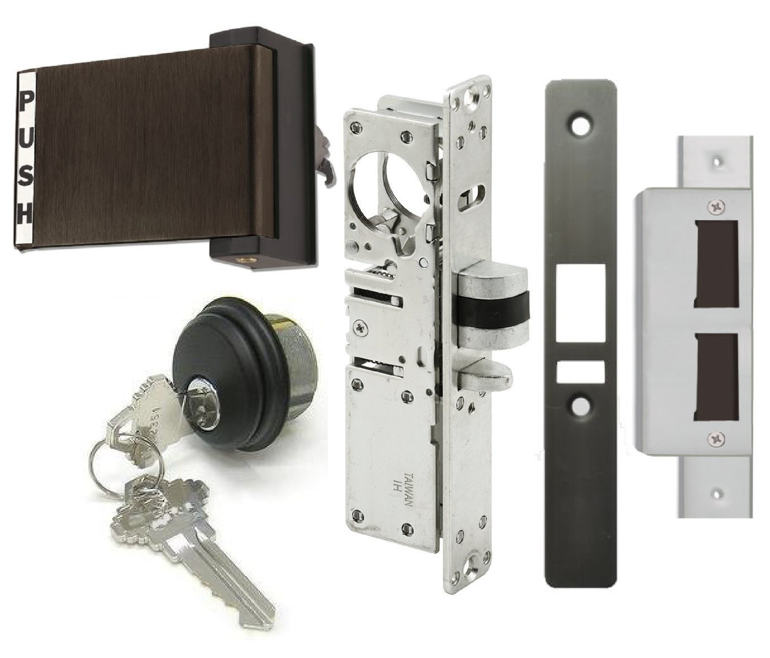 Adams Rite Style Latch Storefront Door Mortise Deadlatch Lock Exit Paddle Handle Kit w/Cylinder & Keys, in Duronotic (1-1/8'' Backset, Push Door to Left)