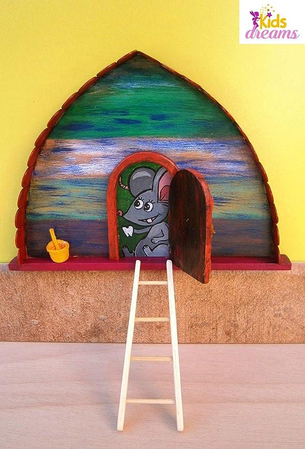 KidsDreams Ratoncito Pérez: Puerta mágica Mod: 6 - Incluye una cestita para dejarle el Diente y una pequeña Escalera.: Amazon.es: Hogar