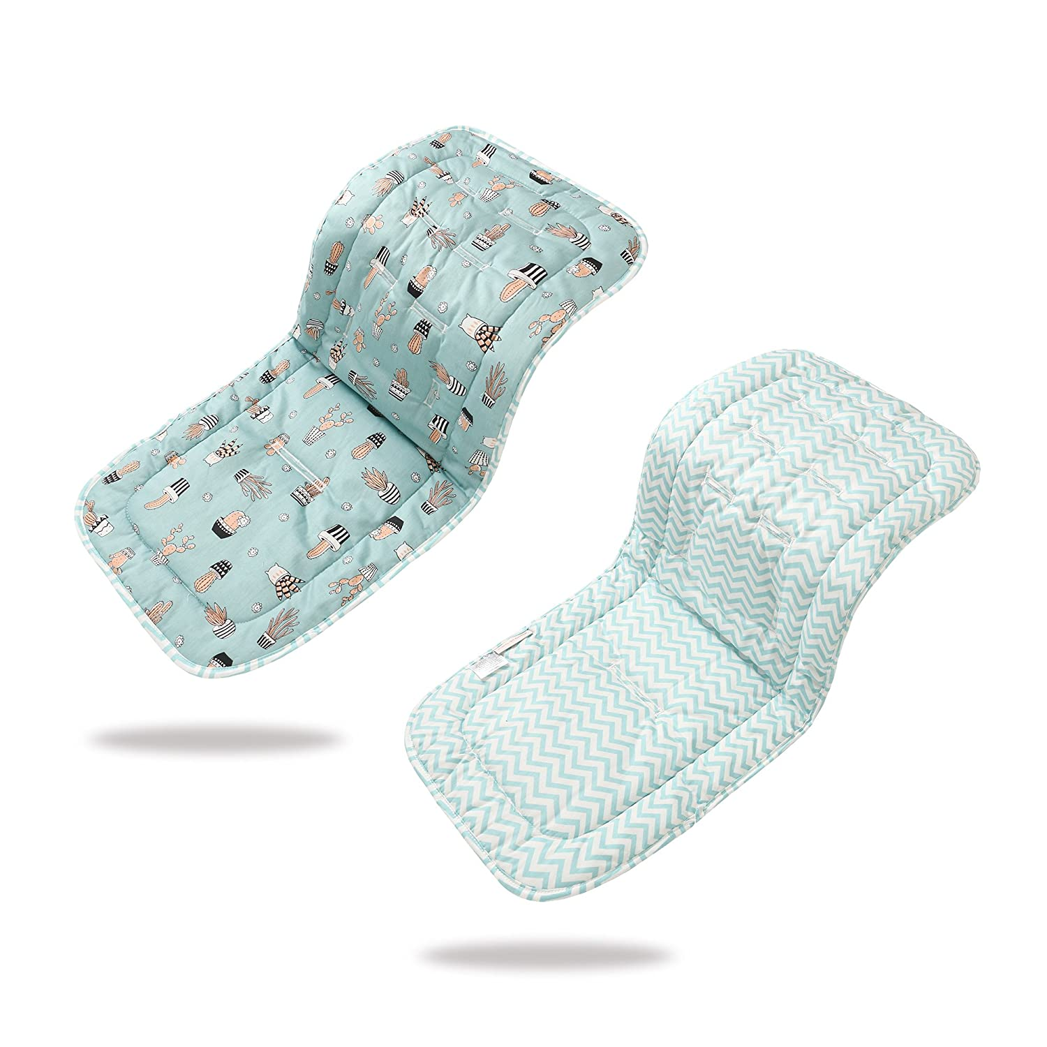 Baby Seat Liner for Stroller,Super Light Baby Car Seat Pad,Breathable Cotton Cushion Double Sides Use 31''x 13''(Blue Wave&Cactus)