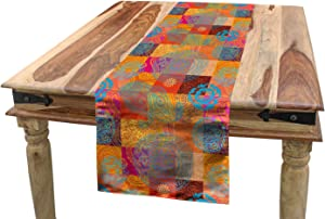 "Lunarable Batik Table Runner, Vintage Forms with Oriental Repeating Shapes and Lines in Design, Dining Room Kitchen Rectangular Runner, 16"" X 90"", Purple Orange"